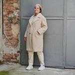 Плетено дамско палто от букле макси размер