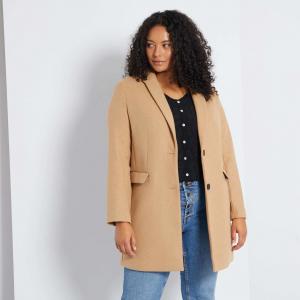 Голям размер вълнено дамско палто