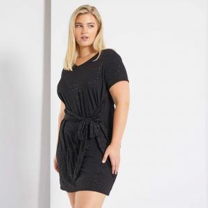 Черна дамска рокля с пайети макси размер