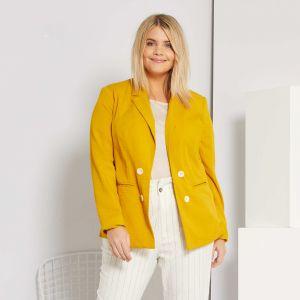 Елегантно дамско сако в наситен жълт цвят