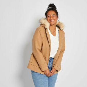 Вълнено палто с кожена яка макси размер