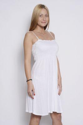 Бяла дамска рокля с тънки презрамки