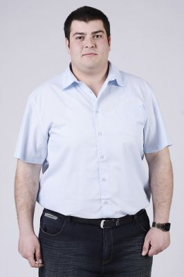 Светело синя мъжка риза с къс ръкав голям размер