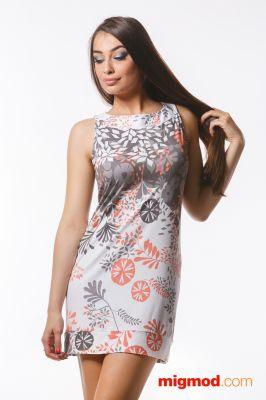 Къса рокля с флорални мотиви