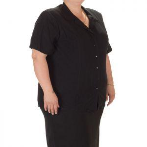 Черна дамска риза с къс ръкав голям номер
