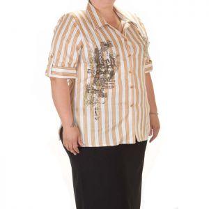 Голям размер риза с къс ръкав