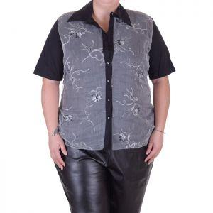 Макси размер дамска риза с къс ръкав