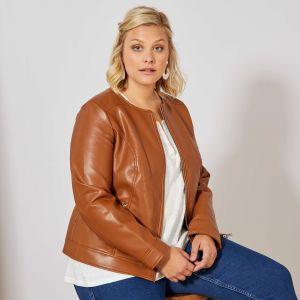Голям размер дамско кожено яке