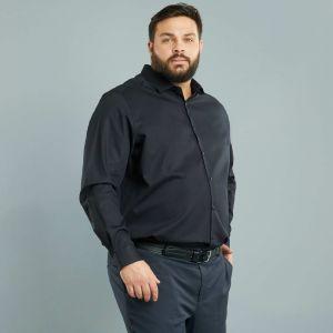 Голям размер мъжка черна риза