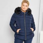 Дамско зимно яке с кожена яка голям размер