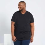 Голям размер мъжка черна тениска