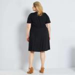Макси размер черна рокля с волани